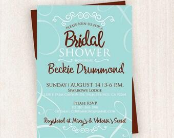Teal Bridal Shower Invitation | Bridal Shower Printable | 5x7 Custom Bridal Shower Invitation|Invitation | Wedding Bridal Invitation