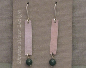 Sterling Silver Dangle Earrings with Green Tourmaline Beads Hand Crafted by Cecilia Beito
