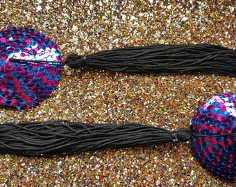 Pink and blue metallic sequin pasties with long black silky tassels