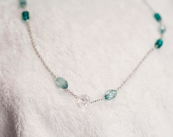 Long-Chained Green Crystal Accent Necklace