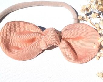 Baby Bow Headband - Apricot Bow - Nylon Headbands - Baby Hair Bows - Toddler Hair Bows - Hair Bows - Hair Accessories - Baby Bows