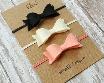 Baby bow headbands, baby girl bow headband,set of 3 bows, felt bows headband, Newborn headband, baby bow headbands, felt bow headband set