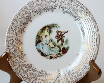"American Limoges Triumph China D'Or 6 1/2"" Dessert Plate Serenade 22K Gold IT-S284,  1940s Vintage"