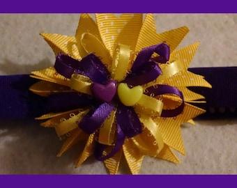 Purple and yellow ribbon head band