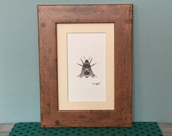 """Framed """"Skullbee"""" Bumblebee Art Print, rustic frame, wooden frame print, shabby chic wall art, insect wall art"""