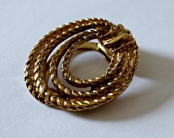 Vintage golden rope scarf broach or badge