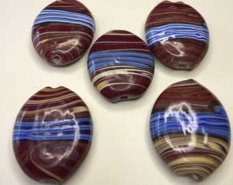 5 HANDPAINTED LAMPWORK Striped Beads