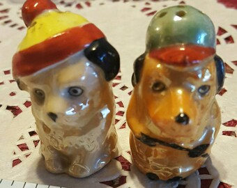 Adorable miniature dog salt and pepper shakers