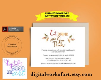 Thanksgiving Dinner Invitation, Eat Drink and Give Thanks Invitation, Autumn Fall Dinner Invitation Turkey  editable PDF template invitation
