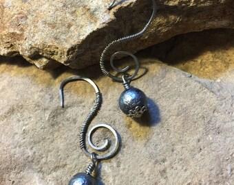 Handmade Silver Hammered Swirl Dangle Earrings (Item #57204)