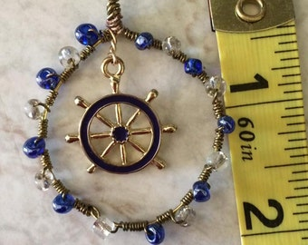 wire wrapped nautical theme necklace