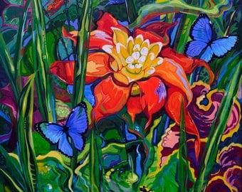 Bromeliad Dream original acrylic painting on canvas
