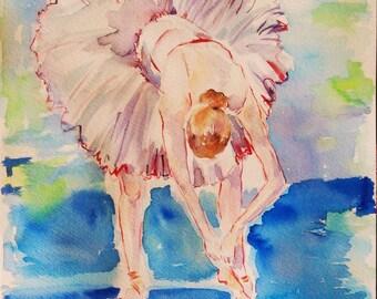 Original ballerina painting,ballet art,ballerina watercolor,white ballerina,blue ballerina,figurative art