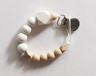 Hand-painted dummy with geometric wooden beads - white