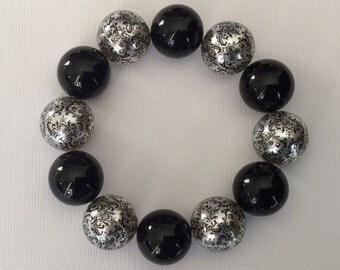Black/Silver Chunky Beaded Bracelet