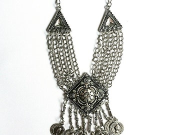 Diamond and Coin Bohemian Necklace