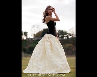 Steampunk Victorian SATIN Wedding Black Satin Corset with Split Front IVORY Rosetta Skirt, Cosplay, Halloween