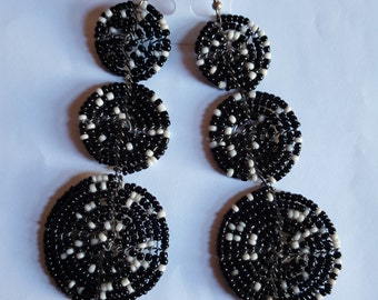 Masai beaded black and white dangle 3 In 1 earrings