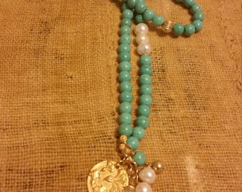 Turquoise Beaded Necklace with Fresh Water Pearls ,Vintage Gold plated Beads and Charm.