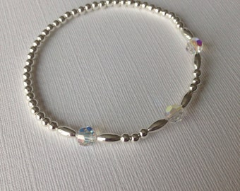 Silver plated beaded bracelet with Swarovski crystals