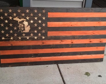 Detroit Tigers and Michigan based American flag