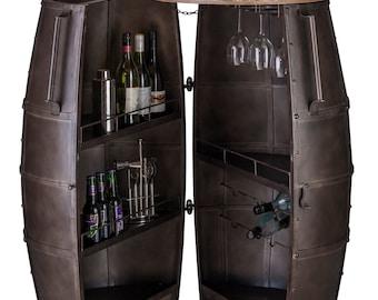 Bar Cabinet Wine Rack Storage Alcohol Wrought Iron 80 Bottles Barrel