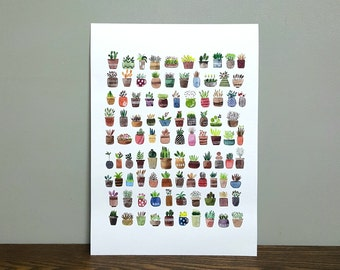 Printed Watercolor Illustration, Con Cantabile, cute plants, A4 240g Digital Fineart Printing walldecor watercolour