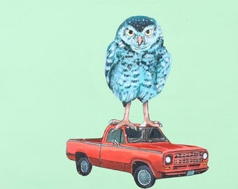 Red Truck with Owl