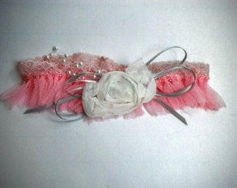 Deconstructed Pink Lace Garter
