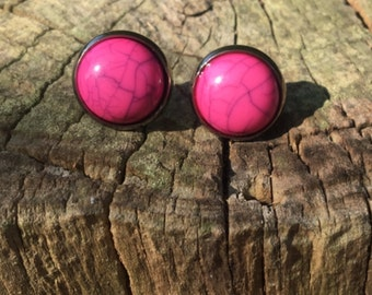 Pink Howlite stud earrings