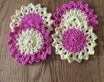 Handmade crochet flower coasters set if 4
