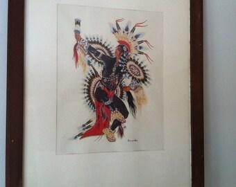 "Framed Native American ""scalp dancer"" print by Woody Crumbo"