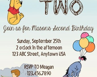 Winnie the Pooh Birthday Invitation
