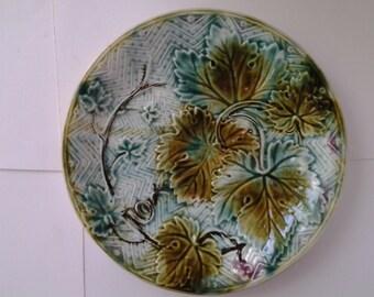 Majolica grape leaves and basket weave plate