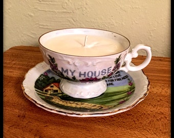 Tea Cup Candle with Saucer made with 100% soy wax