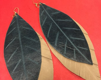 Leather Feather Layered Two Toned Earrings