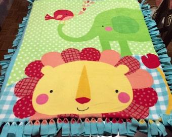 Fleece Elephant and Lion baby tied blanket