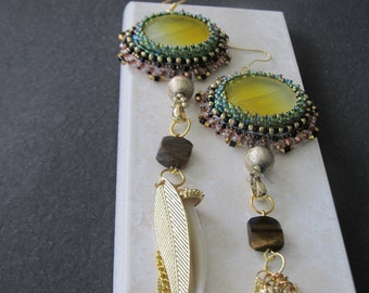 One of a kind bead embroidered earrings with beads,charm and chain tassel