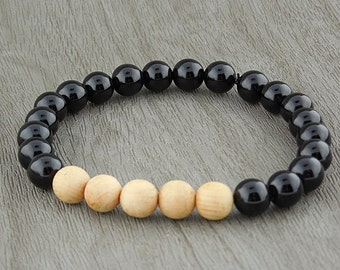 "Black Agate And Sandalwood ""Bead"" Stretch Bracelet"