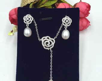 Sterling Silver Pearl Set 925 Sterling Silver Set with Fresh water Pearl (S101)