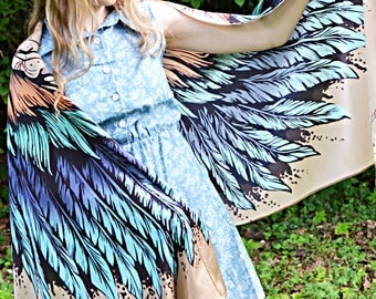 Scarves wings - natural cotton, scarfs women's, winged scarf, bird wings shawl, Perfect gifts for her, scarf wrap sarong, Bohemian air chic