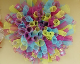 Lime, Pink, Light Blue and Purple Wreath