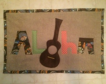 Aloha bath mat, handmade from Hawaii