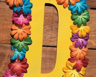 Crafty painted flower home decor wooden letter D