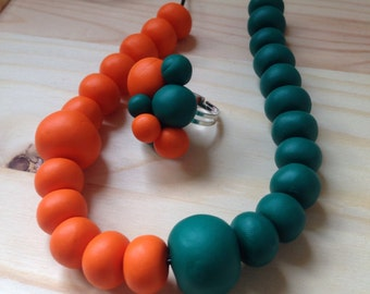 Necklace and ring set- orange and green- fully handmade