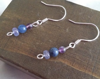 Sterling Silver Earrings with Tanzanite, Blue Sapphire & Fluorite