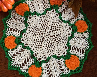 Crochet Doily; October Pumpkin Doily; Fall Doily; 12 Inches Round Doily