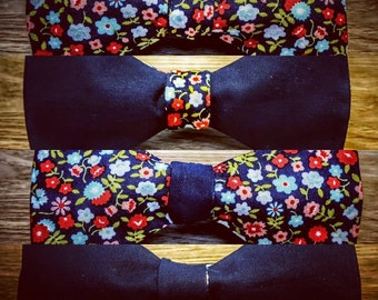 Floral & Navy Blue Bow Tie