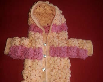 Crochet Flowery Hoody Coat for 3 month old to 1 year old babies