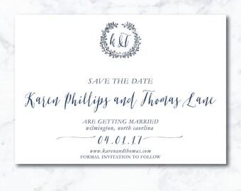 Classic, Modern Save the Date | Customizable + Printable | Simple,Modern Calligraphy | Laurel Wreath Monogram